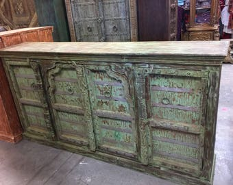 FARMHOUSE ECLECTIC Antique Old Door Console Rustic Chest Distressed Green Sideboards Buffet Cabinet Shabby Chic 18