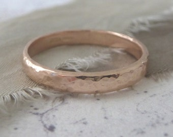 Rose Gold Wedding Band - Hammered Wedding Band - 9ct Rose Gold Wedding Band - 3mm