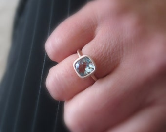 Aquamarine 14K Gold Gemston Ring, Cushion 8mm, Conflict Free, Made to Order,