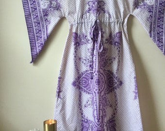 Vintage Hippie Boho Dress Paisley Bell Sleeve Cotton MD Purple