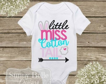 Little Miss Cotton Tail; Personalized Easter Onesie; Baby Clothes; First Easter; Baby Bodysuit