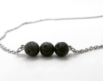 Essential Oil Diffuser Necklace - Triple Black Lava Bead - Aromatherapy Necklace - 1ml of Essential Oil included