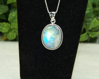 Moonstone Pendant, Neon Blue Flash, Violet and Peach, Sterling Silver, June Birthstone, Natural Moonstone, Rainbow Moonstone, Oval Moonstone