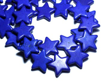 39cm 18pc env - synthetic, reconstituted Turquoise stone beads wire star 25 mm dark Lapis blue