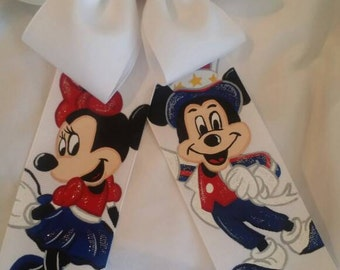 Boutique Disney Mickey and Minnie Mouse Patriotic And Proud Handpainted Hairbow