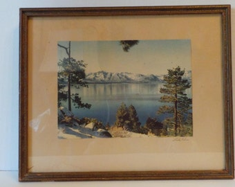 Framed LAKE TAHOE Colored PHOTOGRAPH 1940's