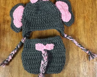 Crochet elephant hat and diaper cover
