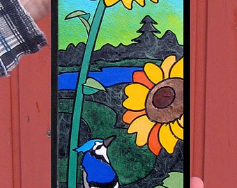 Mini- Sunflower / Blue Jay. Sorry the listing is incomplete; I wanted to get it up because the artwork is immediately purchasable.