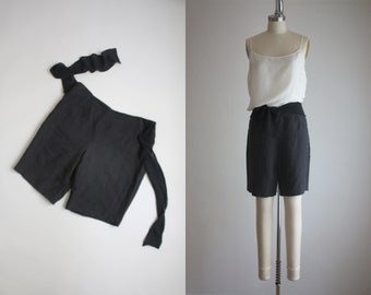 chiffon bow linen shorts