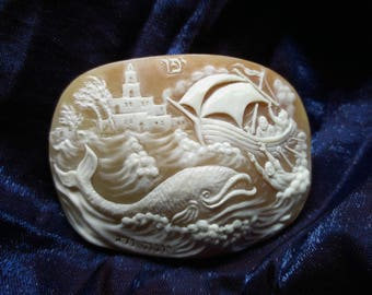 judaica.Prophet Ionah.TANACH   handcarved  sea shell cameo  - old Jaffa. Ionah and Fish   5.8 * 4.5 cm