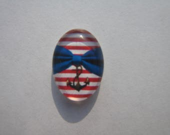 Cabochons glass oval 13 X 18 mm with the image of red, blue, white sailor striped bows