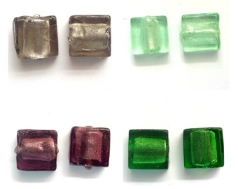 20 Silver Foil Lampwork Glass Beads 12mm Square Beads