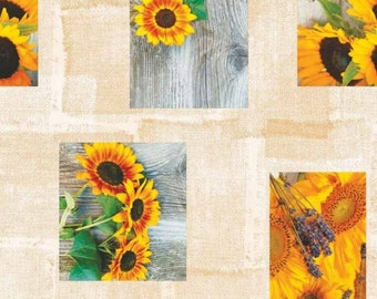 Oilcloth table cloth by the metre sunflower wood patchwork C144221