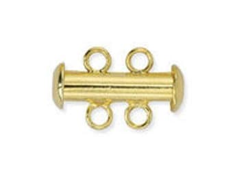 Slide Clasp 2 Strand Nickel-Free Gold Plated A110, Qty 2