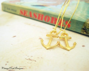 Gold Anchor Earrings, Golden Anchors, Anchor Dangle Earrings,Anchor Jewelry, Anchor Nautical Earrings,Gold Nautical Jewelry, Summer Fashion