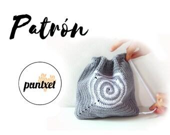 Patrón de bolsa de ganchillo con detalle en espiral