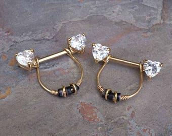 Heart Crystal Gold Nipple Ring Gold Nipple Piercing