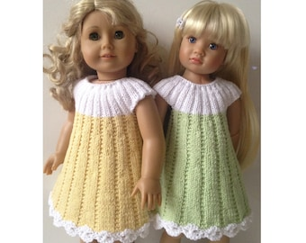 APRIL dress Knitting Pattern 18 inch doll (062)