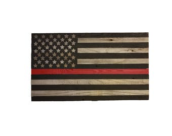 Wooden Firefighter Red Stripe Flag, Reclaimed Wood, American Flag, Handmade, Rustic Wooden American Flag, Red Stripe Flag