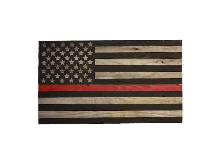 Wooden Firefighter Red Stripe Flag, Reclaimed Wood, American Flag, Handmade, Rustic Wooden American Flag, Red Stripe Flag