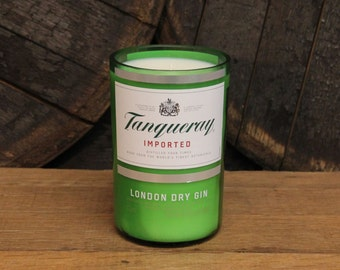 Tanqueray Gin Candle - Recycled Gin Bottle Soy Candle 1L - Custom Scent and Color - 22oz Soy Wax Gin Liquor // Father's Day Gift