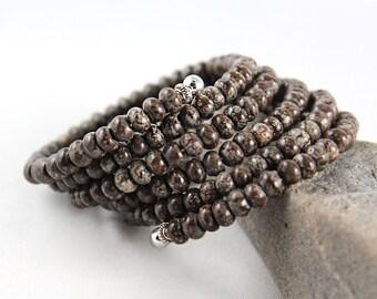 Obsidian Bracelet, Snowflake Obsidian, Memory Wire Bracelet, Wrap Bracelet, Cuff Bracelet, Gem Cuff Bracelet, Wrap Around Bracelet, Gem Cuff