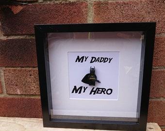 Shadow Box Frame//My Hero//Superhero//Batman//Minifigures//Lego//Gift//Daddy/Fathers Day//For Him//DC Fans//Personalise//Geek//Birthday
