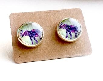 Elephant Earrings, Gifts Under 5, Purple Earrings, Unique earrings, Elephant Jewelry, Animal Jewelry, Elephant Stud Earrings, Cabochon