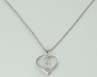 14Kt White Gold Diamond Past Present Future Open Heart Pendant with Necklace