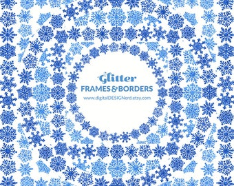 Clip Art Frames & Borders - Sparkly Snowflakes - Blue Glitter (12 Digital Embellishments - 8in and 12in PNGs) Holiday Christmas