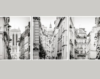 Gallery wall set of 3 prints Black and white Paris photography Large wall art Paris bedroom decor Architecture art Triptych print set of 3