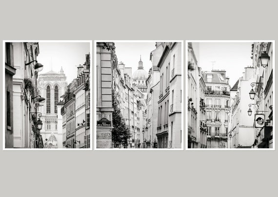 Gallery wall set of 3 prints grey black and white paris