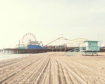 "Santa Monica Pier, California Seaside, Ferris Wheel Boardwalk, Los Angeles Beach, Seaside Pier, Santa Monica  Print "" Santa Monica Pier"""
