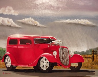 Red Hotrod Stormy Day