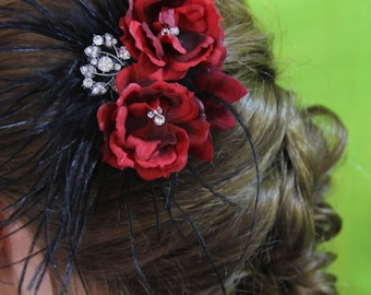 "deep red floral with black feather, crystal, and silver detail.  Clip.  ""Scarlet"""