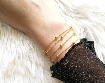 Satellite Bracelet, Gold Beaded Bracelet, Gold Chain Bracelet, Gold Bracelet, Delicate Bracelet, Layered Bracelet Chain, Stacking Bracelet