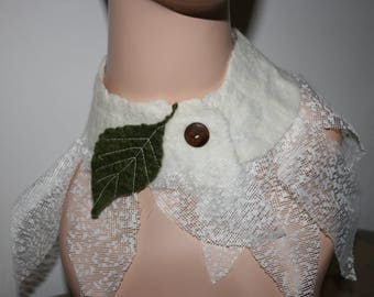 Nuno Felted Neck Warmer Wool.OOAK.  Hand made. Cowl.Neck Cuff. Wet Felted Tree Leaf Scarf/Shawl/Necklace
