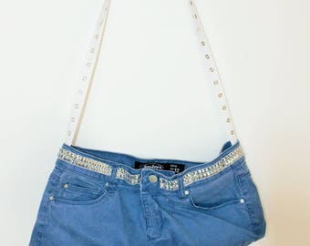 Denim Handbag/Upcycled Jeans/ Blue and white with flowers