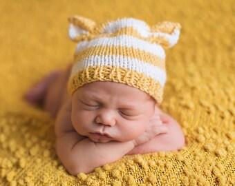 Newborn Baby BeAR HaT Knit BaBY PHoTO PRoP Boy Girl STRiPE ANiMAL BeANiE Pick Color Ear FoX KiTTy ToQUe Coming Home Cap PaSTeL Neutral BRiTE