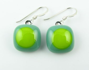Mineral & Lime Fused Glass Earrings. Made To Order. Fused Glass Jewelry. Handcut and designed in Texas. Simple Earrings. Everyday Jewelry.