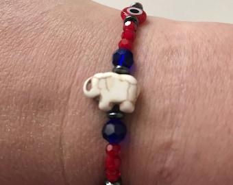 Good luck bracelet elephant/evil eye/ladybug size 7