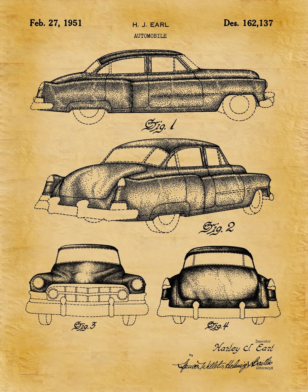 Patent 1951 Cadillac Automobile Design Patent - Art Print - Poster ...