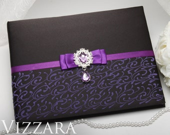 Wedding guest book Black tie weddings Guest book ideas for wedding Purple and black wedding Elegant wedding guest book Black themed weddings