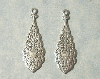 2 Antique Silver Stampings , Silver Earring Drops, Earring Components, Earring Dangles