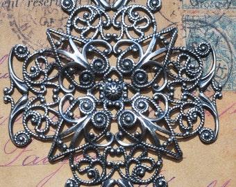 Small Filigree cross, Filigree Ornaments and Embellishments, Sterling silver finish, Craft Supplies by Calliopes Attic