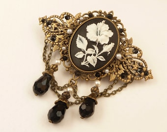 Big cameo hair clip with hibiscus flower in black white bronze flowers hair accessories gift woman
