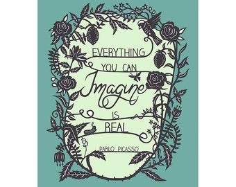 Everything You Imagine - Original Papercut Print - Inspirational Quote - 8x10 Blue