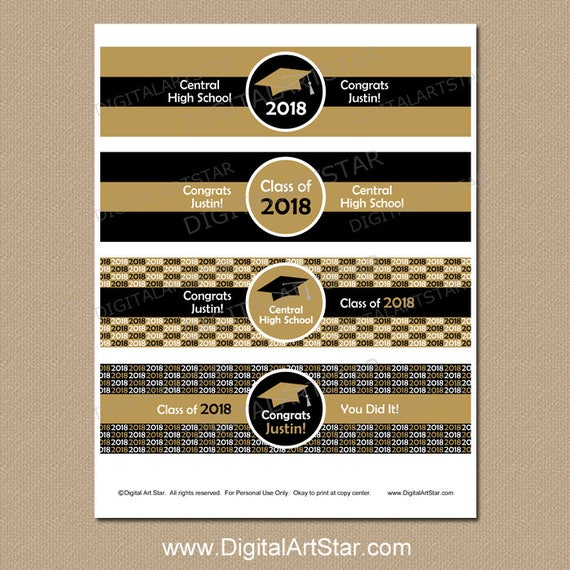 High School Graduation Party Decorations Printable Water Bottle Labels Personalized Supplies Black And Gold G1