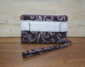 Purple floral pattern with silver accented purse. Card holder, opening, zippered coin pouch, strap, homemade handmade, unique, new design