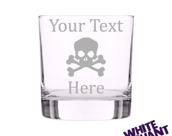 Skull & Crossbones Etched Tumbler/High-Ball/Pint Glass Gift